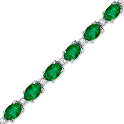 9.90ct tw Emerald and Diamond Bracelet set in 14k Gold
