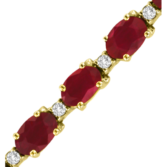 11.80ct tw Ruby and Diamond Bracelet set in 14k Gold