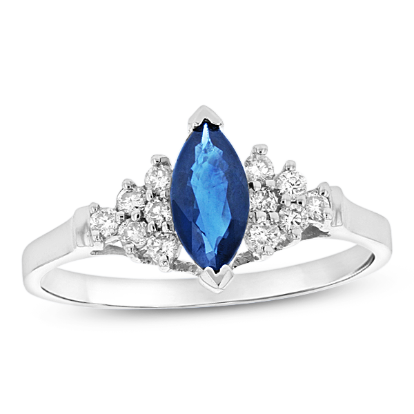 0.19ctw Diamond and Sapphire Marquis Ring in 14k White Gold