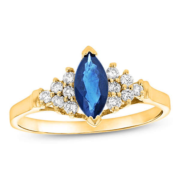 0.19ctw Diamond and Sapphire Marquis Ring in 14k Yellow Gold