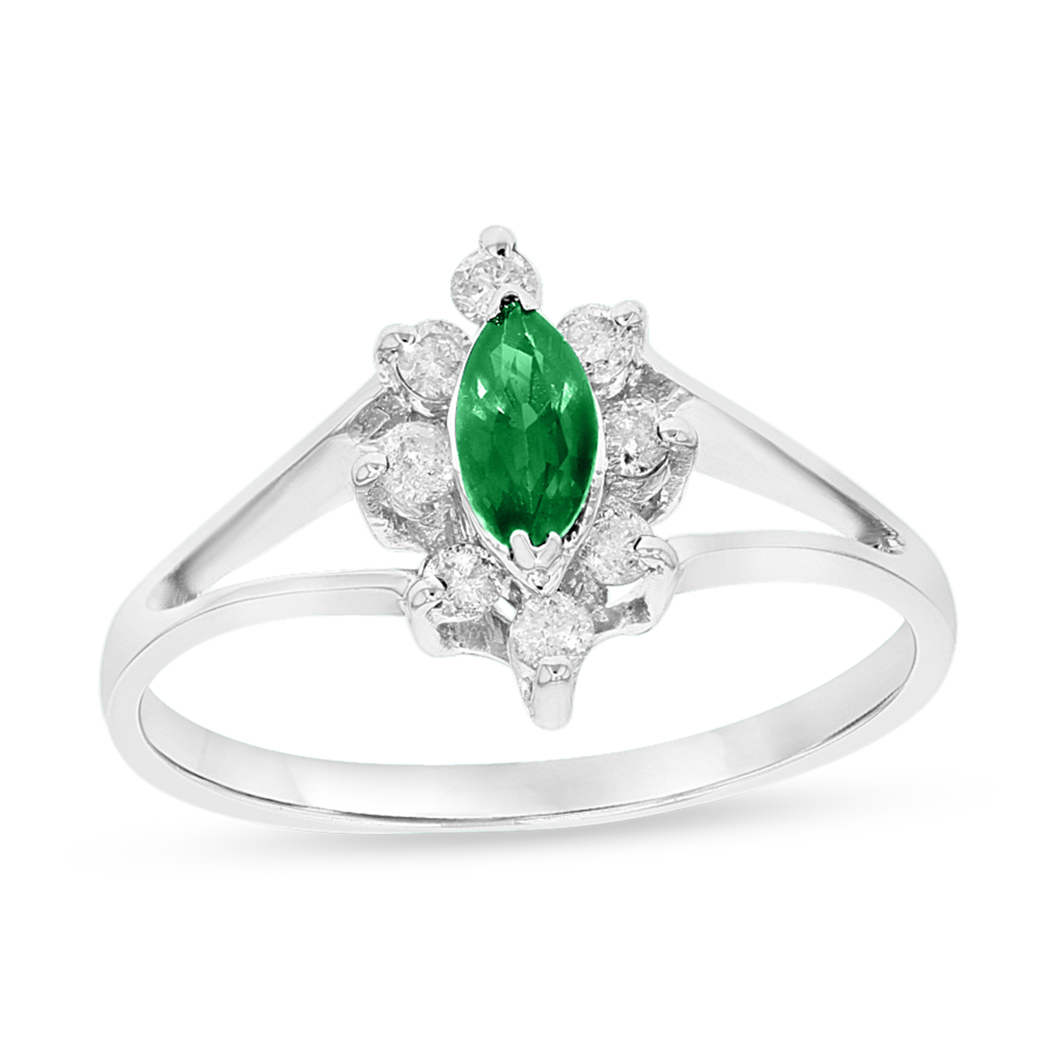 View 0.15ctw Diamond and Emerald Marquis Ring in 14k White Gold