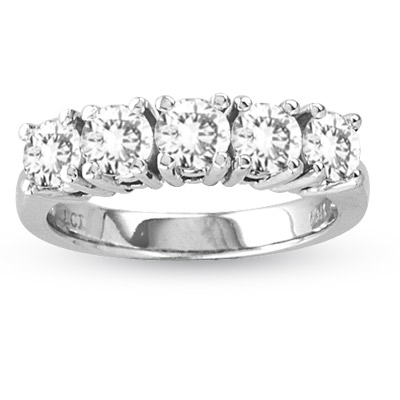 View 0.75ct tw Four Prong 5 Stone Round Diamond Anniversary or Wedding Band Bridal Ring H-I SI Quality 14k Gold