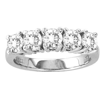 View 2.00ct  tw Four Prong 5 Stone Round Diamond Anniversary or Wedding Band Bridal Ring G-H SI Quality 14k Gold