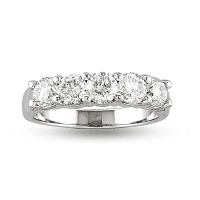 View 1.25ct tw 5 Stone Round Diamonds Shared Prong Anniversary or Wedding Band Bridal Ring G-H SI Quality 14k Gold