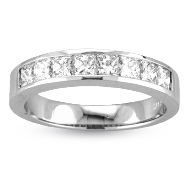 View 1.00ct tw GH-VS Quality Princess Cut Diamonds Channel Set Anniversary or Wedding Band Bridal Ring 14k Gold