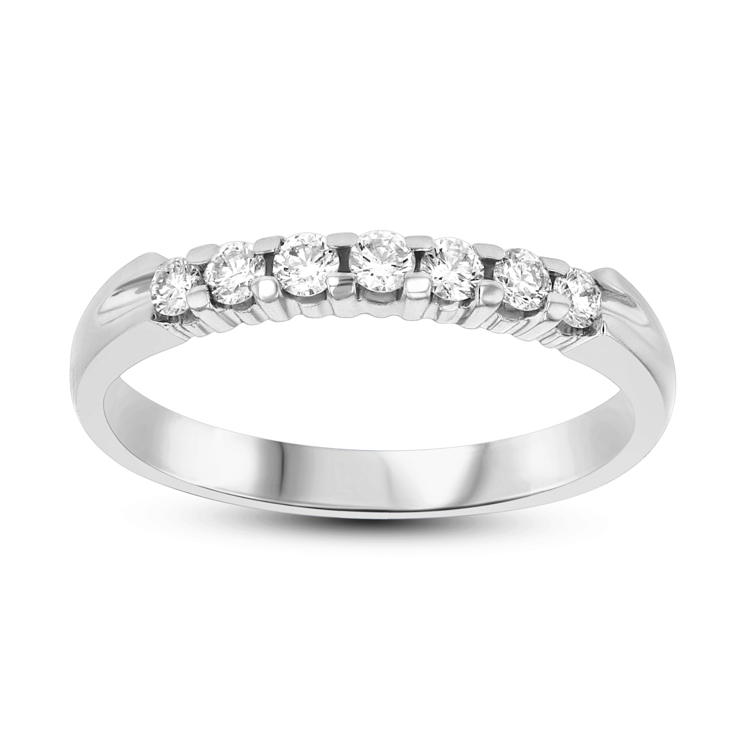 View 0.30ct tw 7 Stone Round Diamonds Shared Prong Anniversary or Wedding Band 14k Gold Bridal Ring H-J, SI