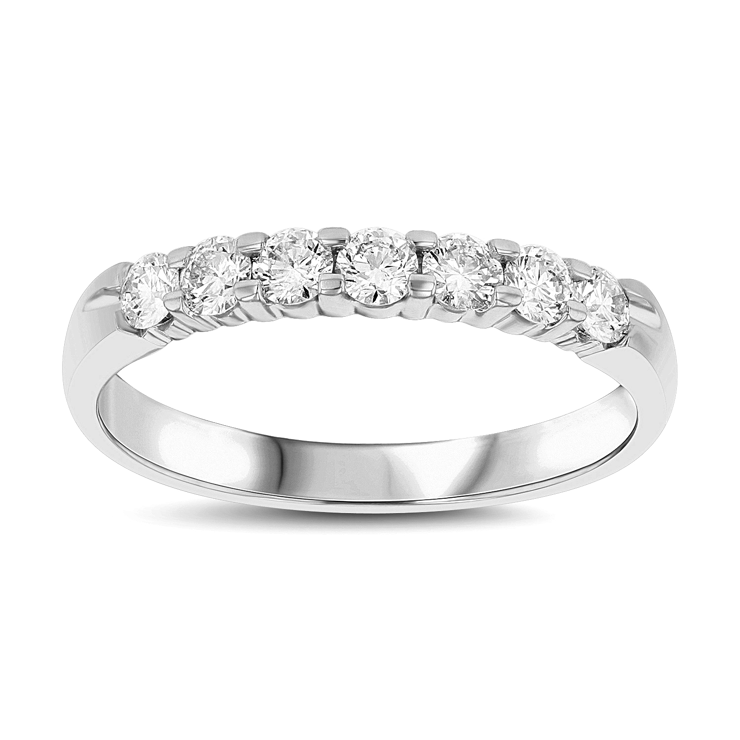 View 0.50ct tw 7 Stone Round Diamonds Shared Prong Anniversary or Wedding Band 14k Gold Bridal Ring H-J, SI