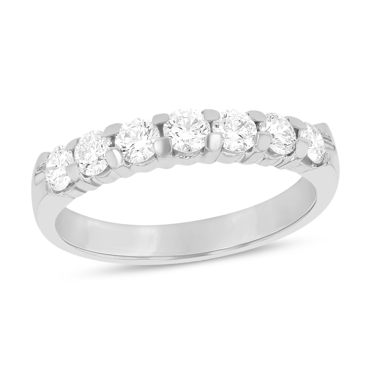 View 0.75ct tw 7 Stone Round Diamonds Shared Prong Anniversary or Wedding Band 14k Gold Bridal Ring H-J, SI