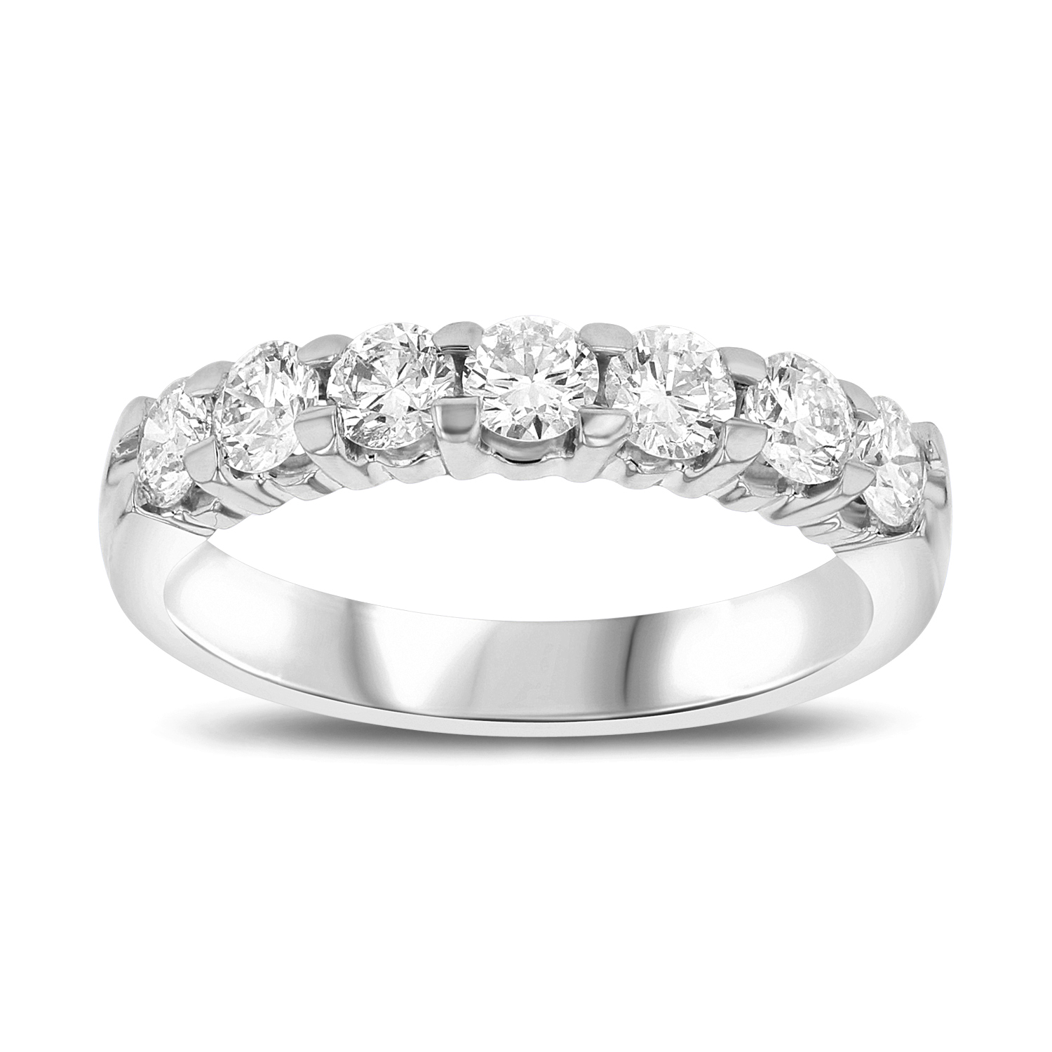 View 1.00ct tw 7 Stone Round Diamonds Shared Prong Anniversary or Wedding Band 14k Gold Bridal Ring H-J, SI