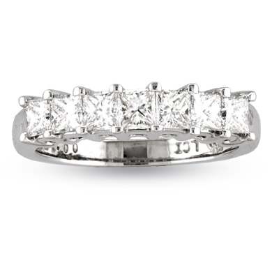 View 1.00ct tw 7 Stone Princess Cut Diamonds Shared Prong Anniversary or Wedding Band 14k Gold G-H VS-SI Bridal Ring