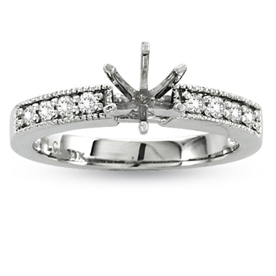 View 14k Gold Engagement Semi-Mount Ring with 0.20 ct tw of Round Diamonds