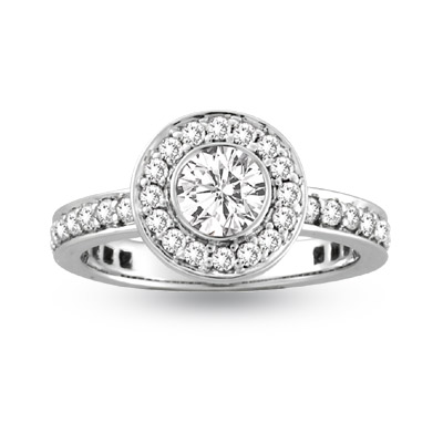 View 1.00ct tw Round Diamonds Bezel Set Center Micro Pave' Fashion Antique Look Engagement Ring