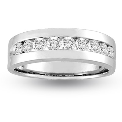 View 0.25ct tw 9 Stone Round Diamond Channel Set Men's Ring 14k Gold Band