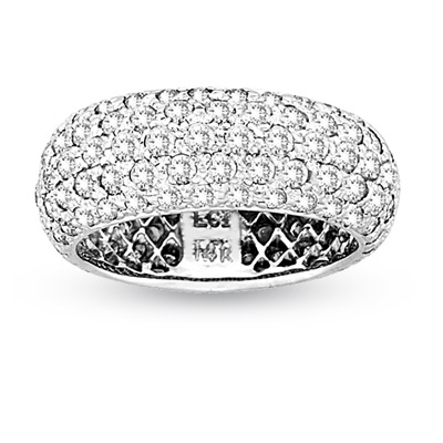 View 2.85ct tw 5 Row Diamonds Eternity Band Bridal Ring 14k Gold Micro Pave Set Band