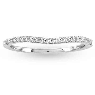 View 0.15ct tw Round  Diamonds 14k Gold Wedding Band Curve Shape Design