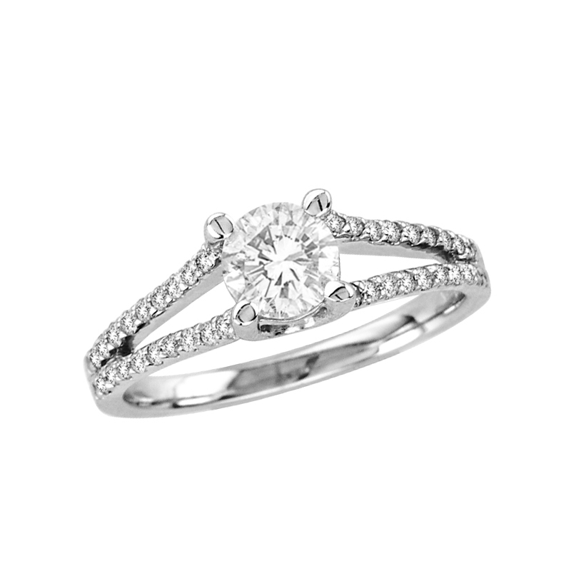 View 0.95cttw Split Shank Engagement Ring in 14k Gold