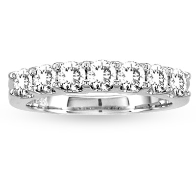 View 1.00ct tw Round Diamonds Ring 14k Gold 7 Stone Wedding Band
