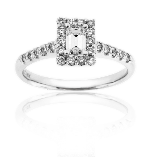 View 14k Gold Engagement Ring with 0.33ct Emerald Cut cneter and 0.64cttw of Diamonds