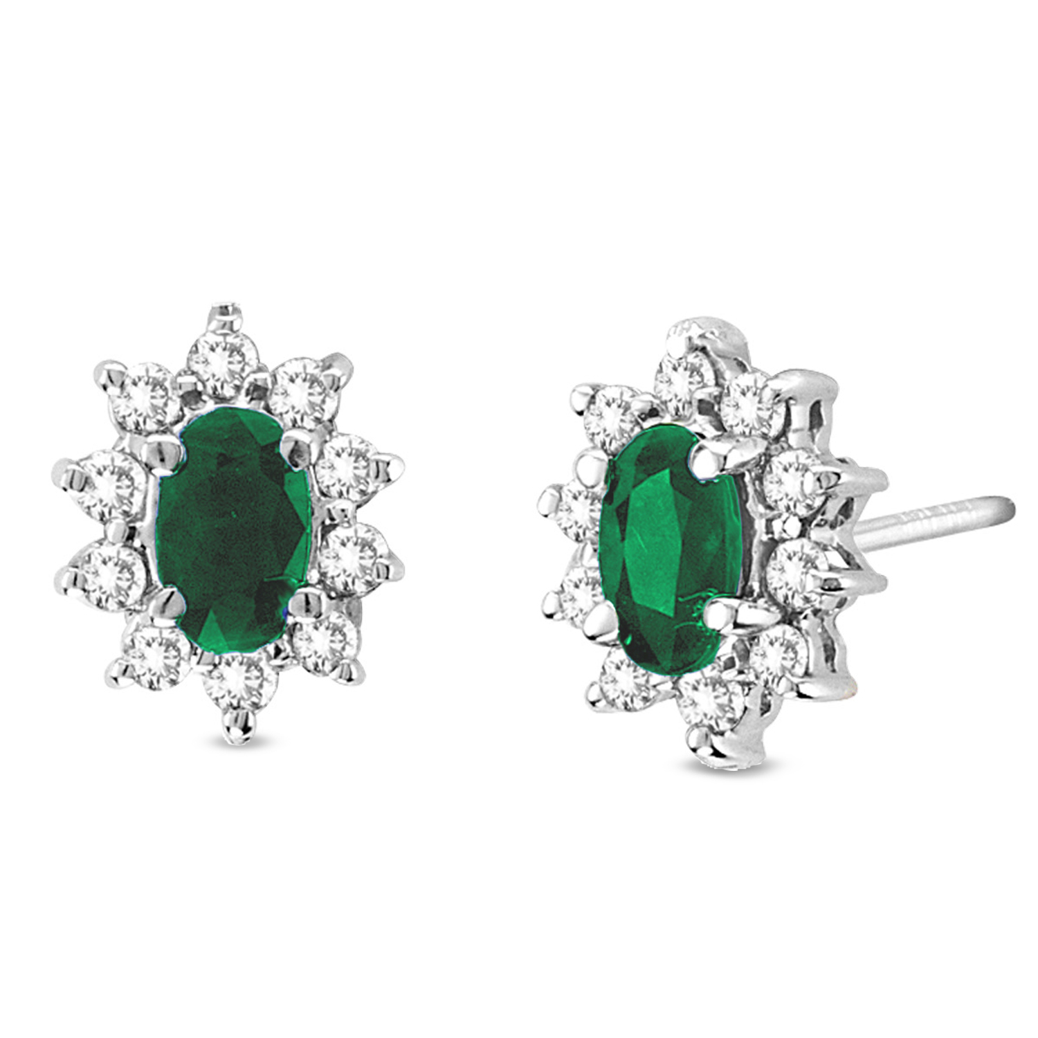 View 0.70cttw Diamond and Emerald Earring in 14k Gold