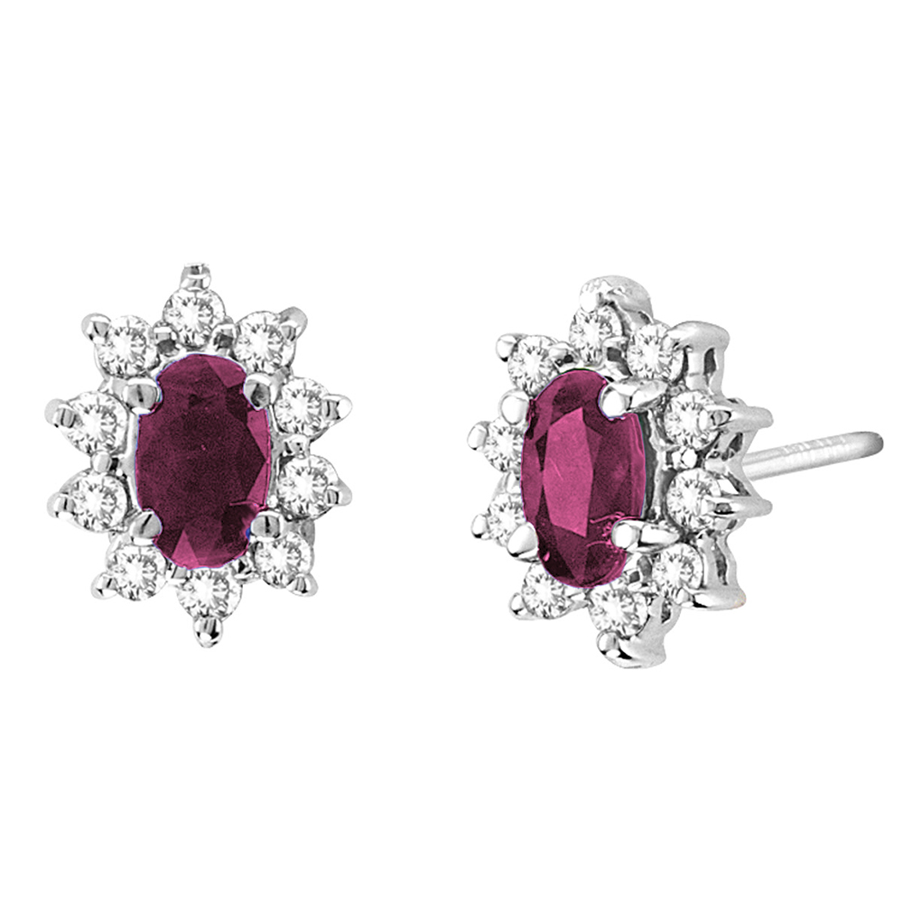 View 0.70cttw Diamond and Natural Heated Ruby Earring in 14k Gold