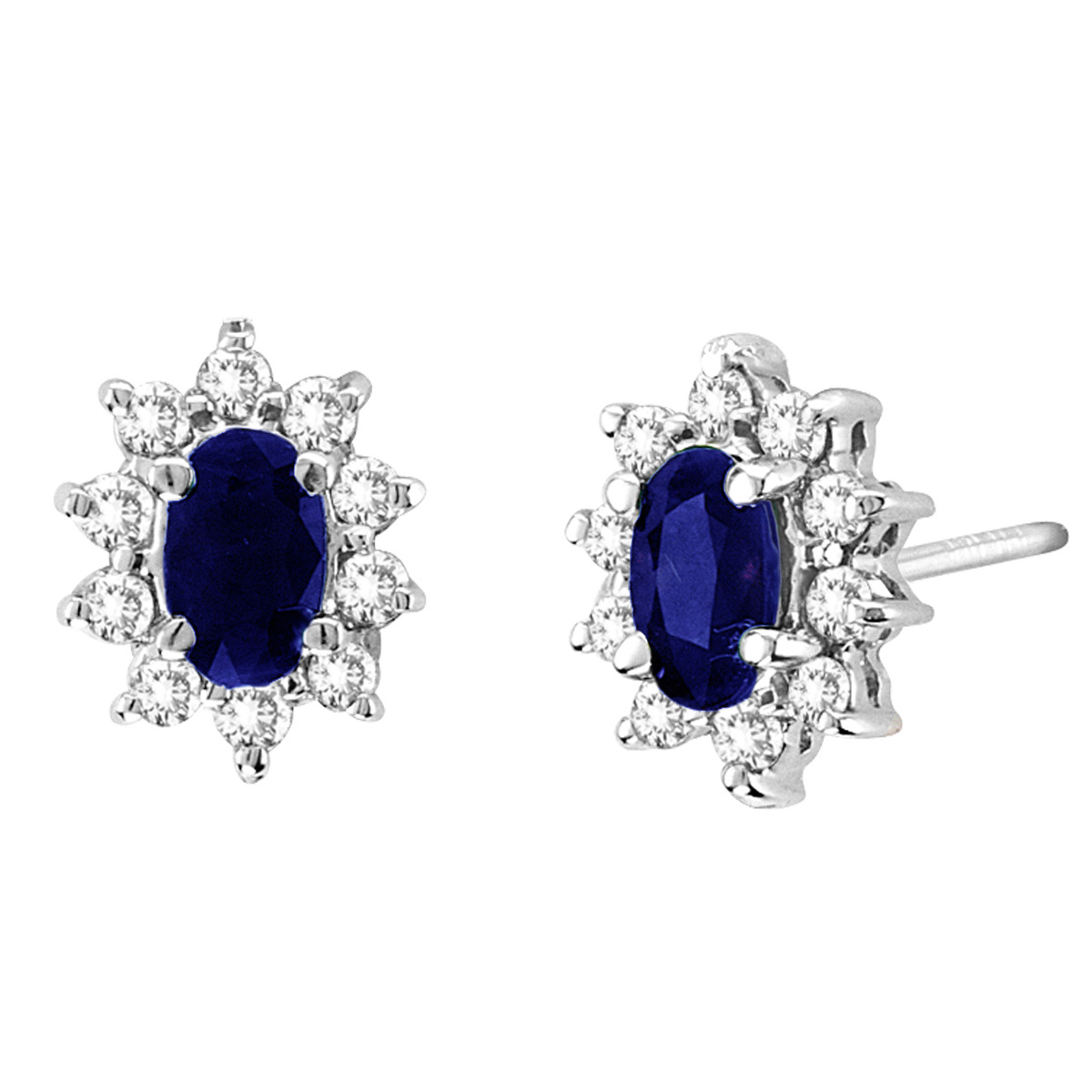 0.70cttw Diamond and Sapphire Earring in 14k Gold