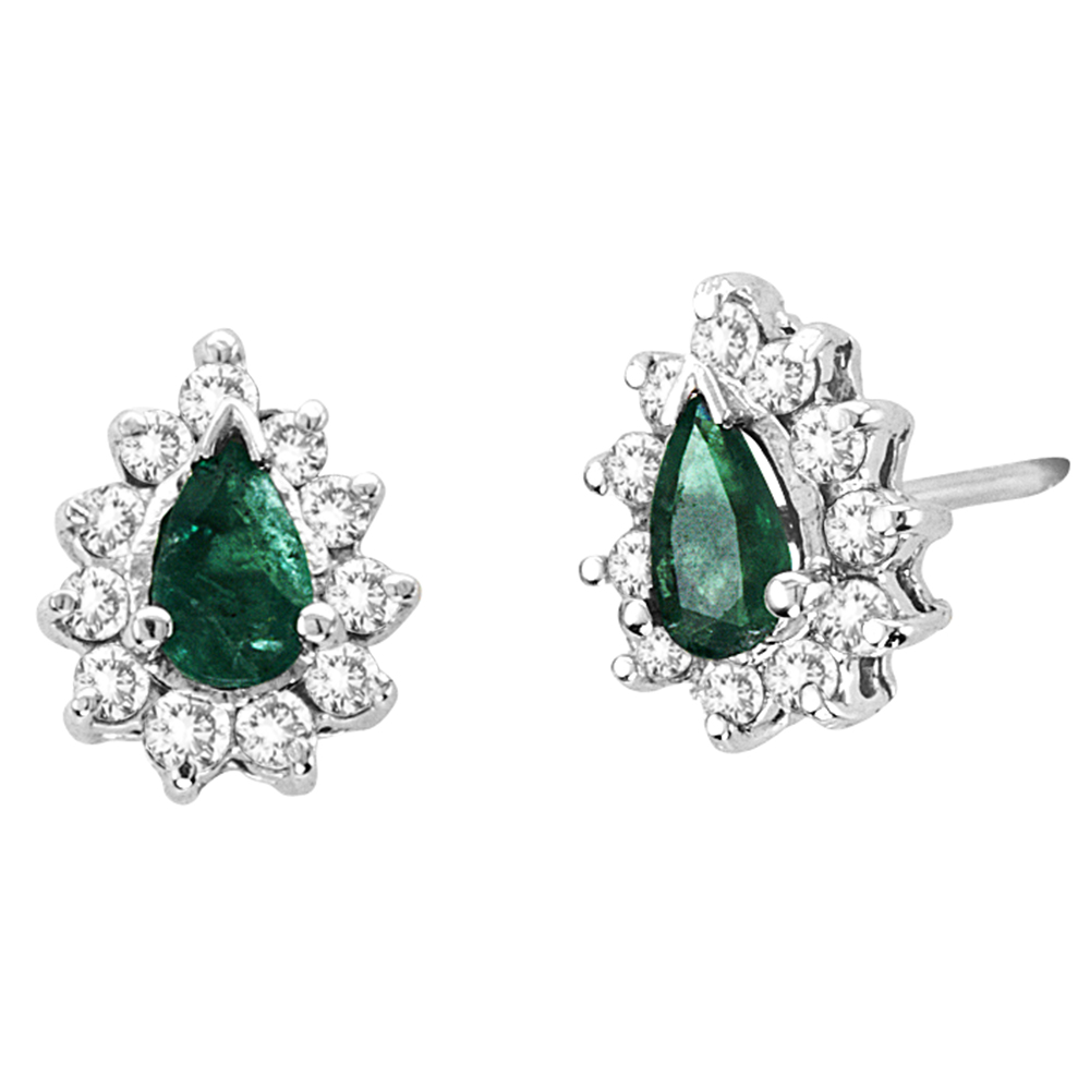 View 0.70cttw Diamond and Emerald Earrings in 14k Gold