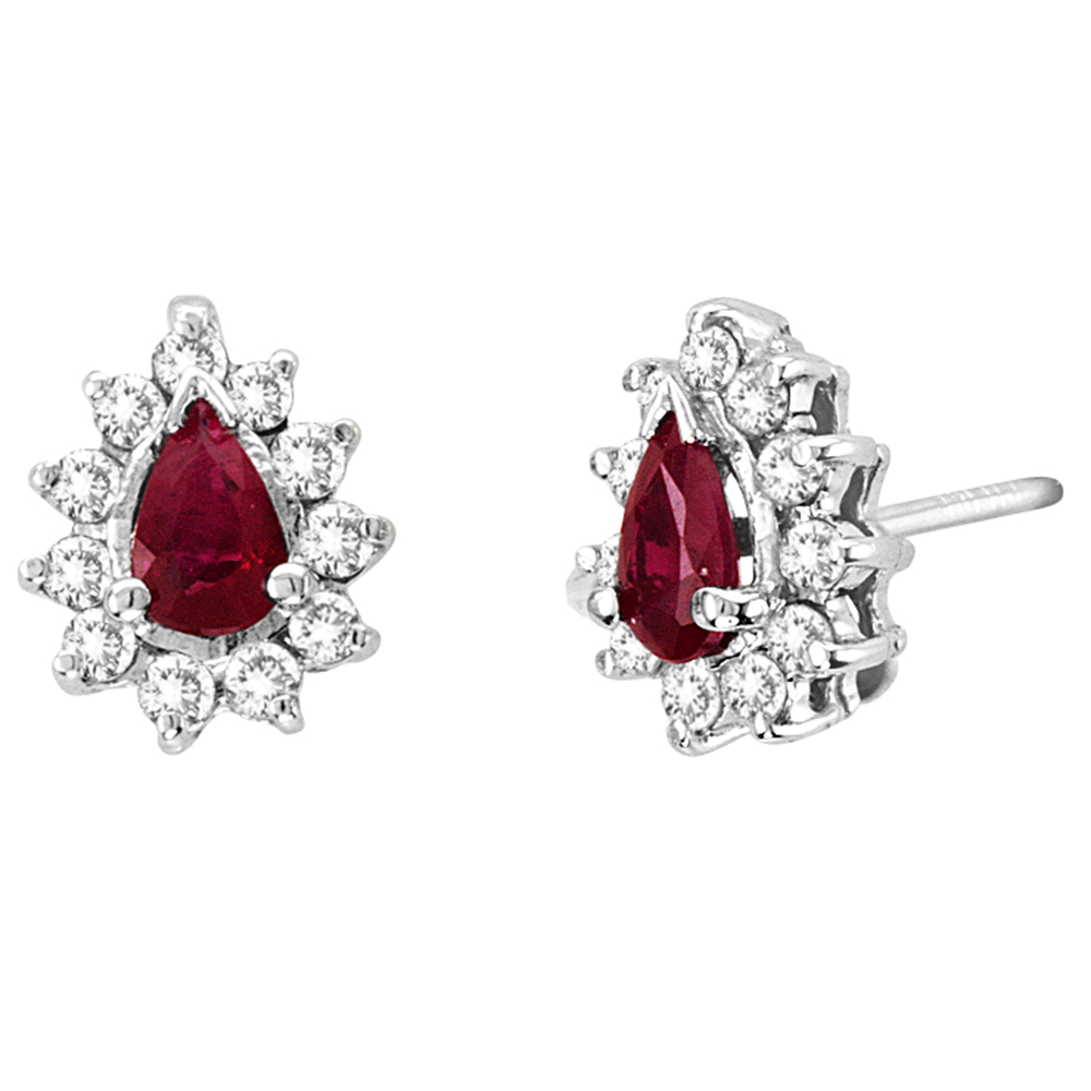 View 0.80cttw Diamond and Natural Heated Ruby Earring in 14k Gold