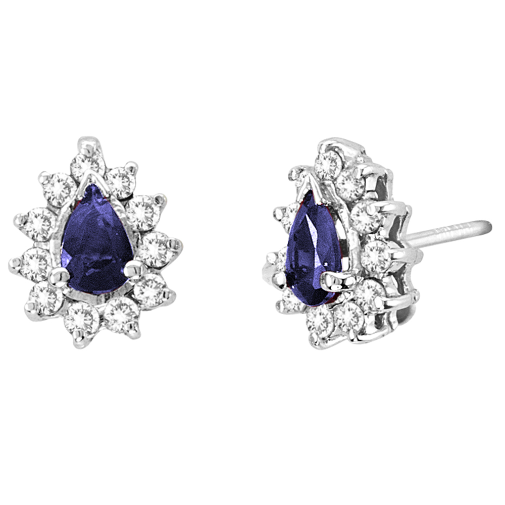 0.80cttw Diamond and Sapphire Earring in 14k Gold