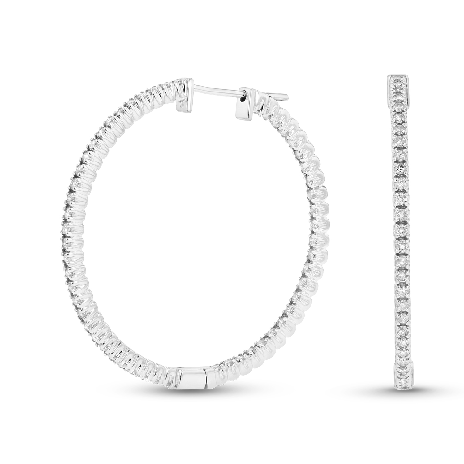 View 14k Gold Hoop Earrings with 1.10cttw of Diamonds. 1 1/4 Inches in Diameter