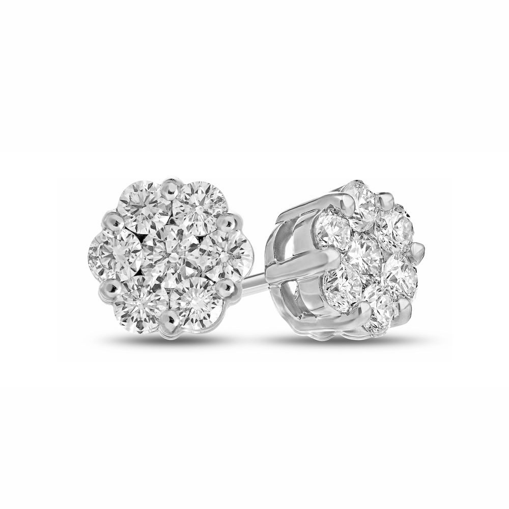 View 0.30cttw Diamonds Cluster Earring in 14k Gold