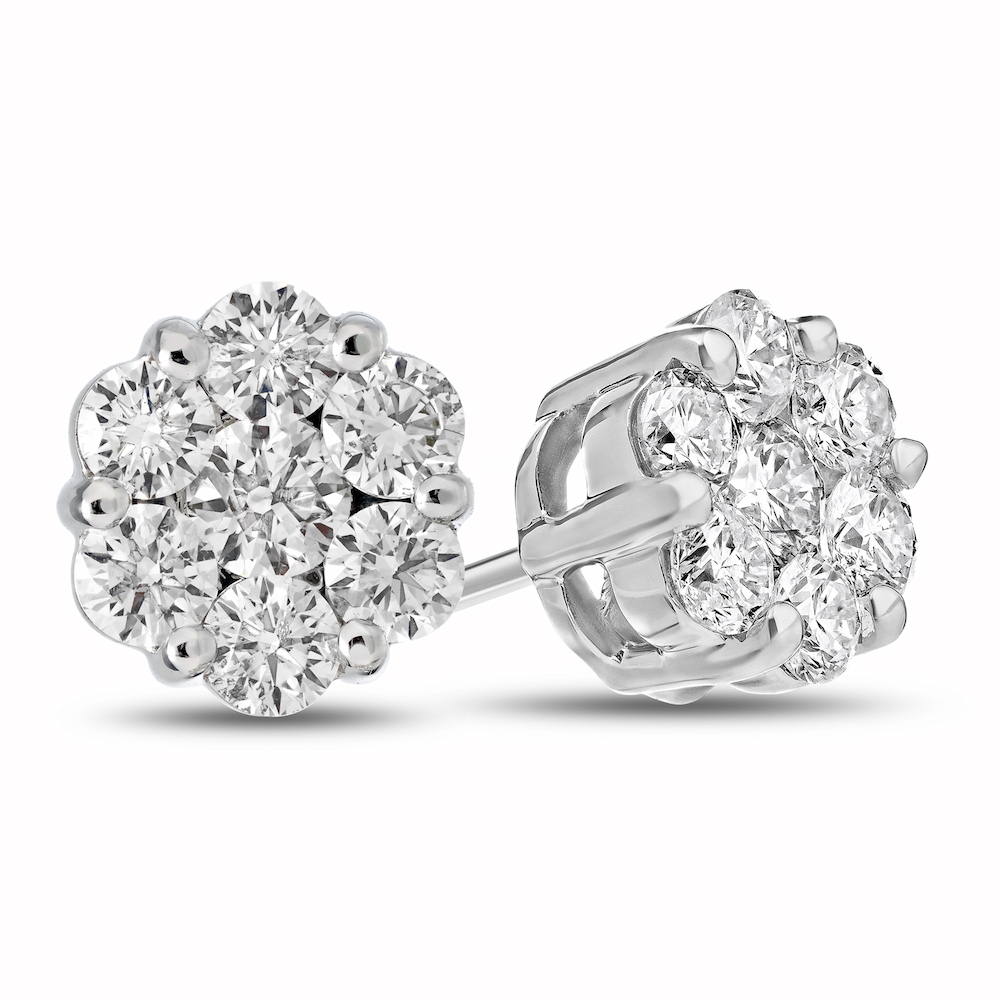 0.75cttw Diamond Cluster Earring set in 14k Gold