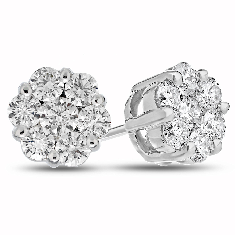 2.00cttw Diamond Cluster Earrings in 14k Gold