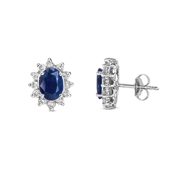 View 2.27ct tw Oval Sapphire and Diamond Earrings in 14k Gold