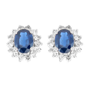 View 3.70ct tw Oval Sapphire and Diamond Earrings in 14k Gold