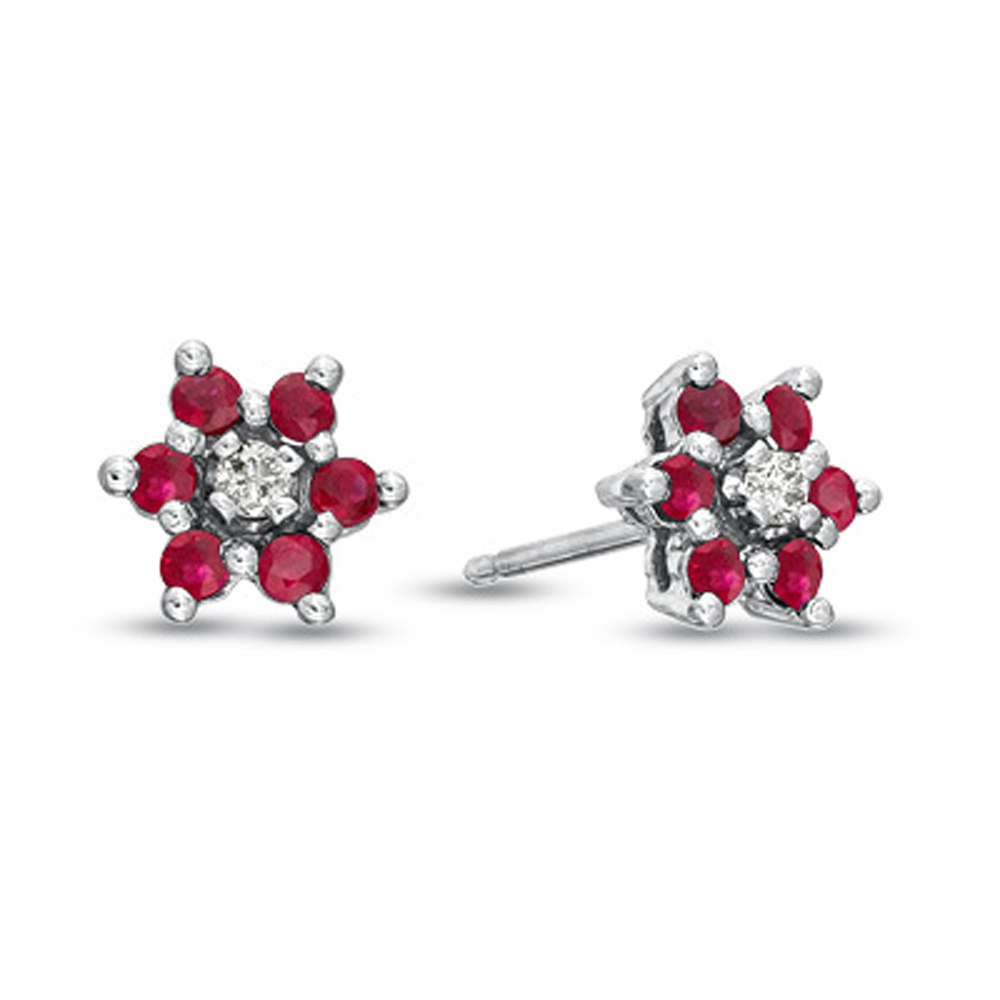 View 0.58cttw Natural Heated  Ruby and Diamond Flower Cluster Earring in 14k Gold