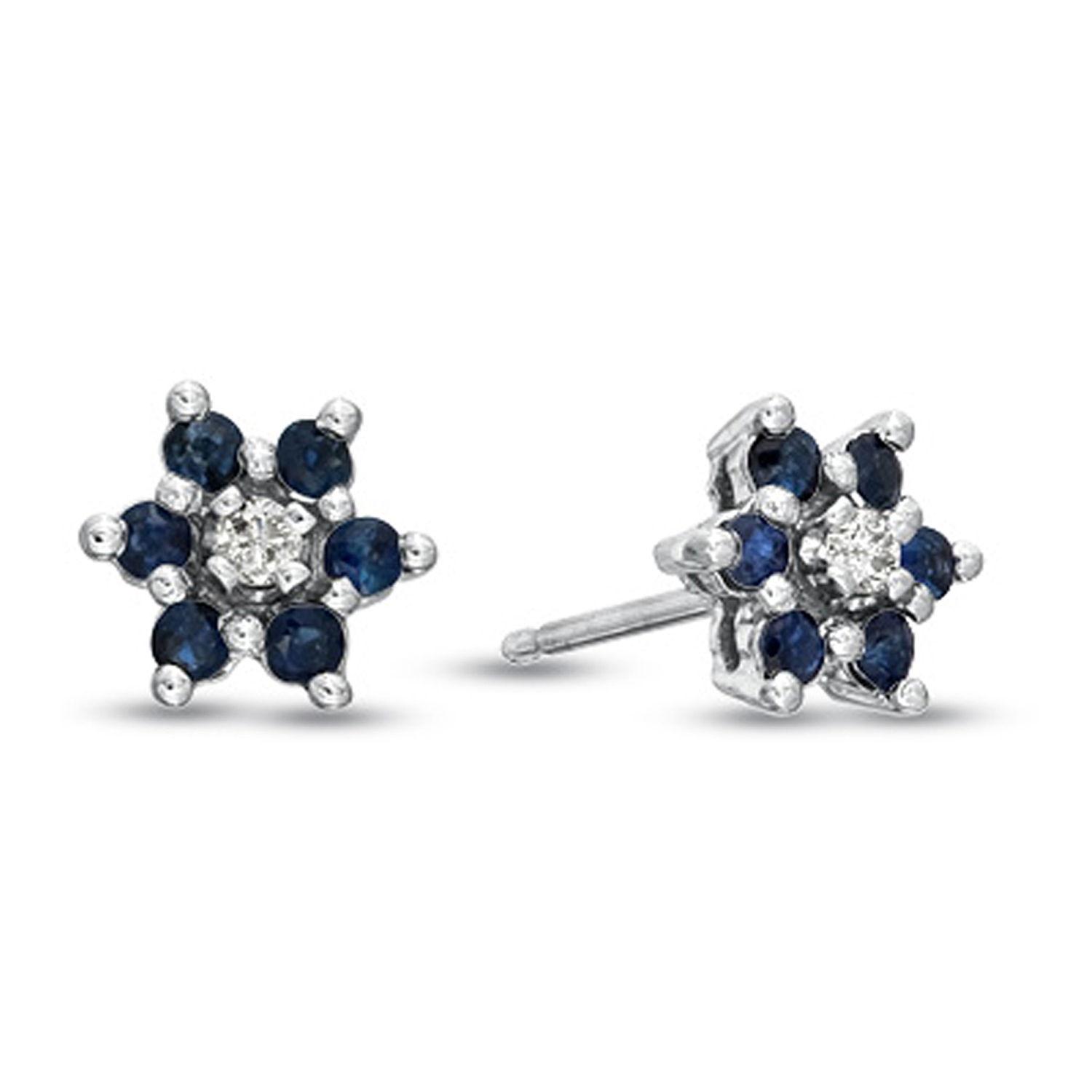 View 0.48cttw Sapphire and Diamond Flower Cluster Earrings set in 14k Gold