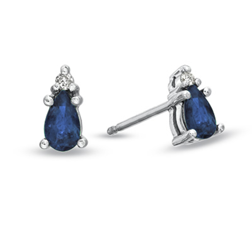 Pear Shaped Sapphire and Diamond Earrings set in 14k Gold