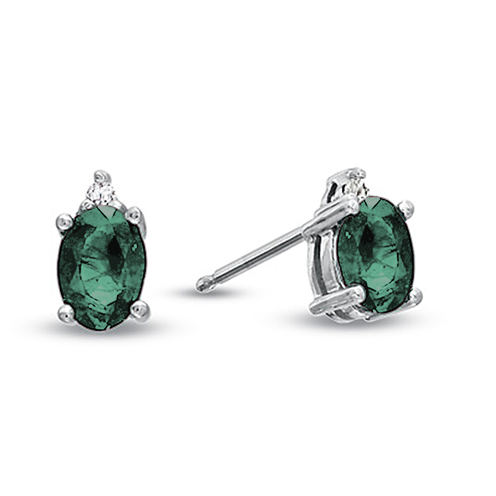 View Oval Emerald and Diamond Earring set in 14k Gold