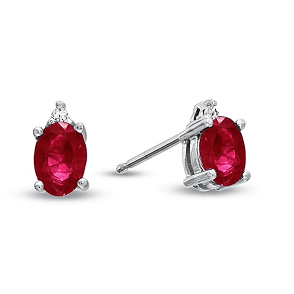 Natural Heated Oval Ruby and Diamond Earring in 14k Gold
