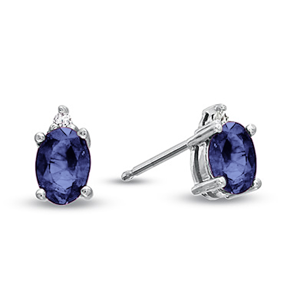 View Oval Sapphire and Diamond Earring in 14k Gold