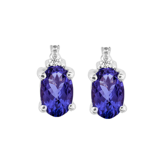 View Oval Tanzanite and Diamond Earring set in 14k Gold