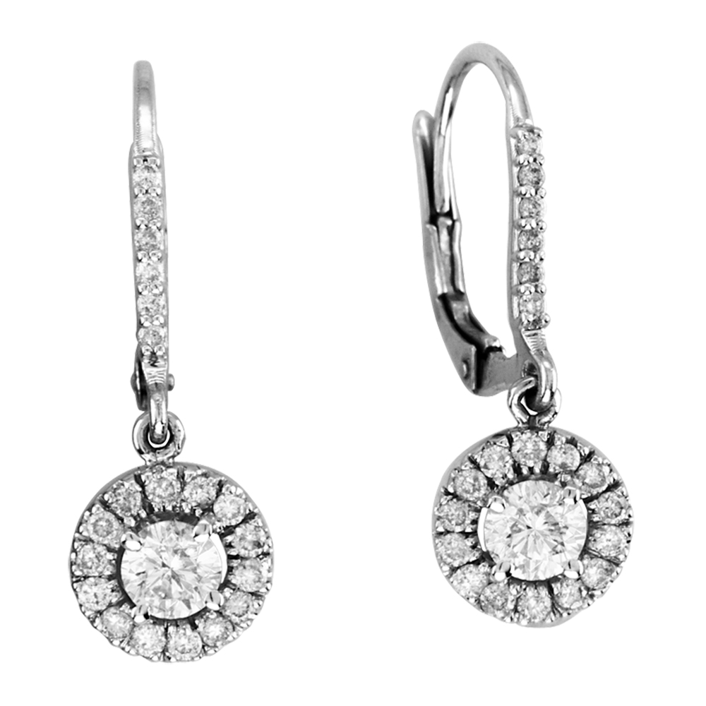 View 1.45cttw Diamond Lever-back Earrings set in 14k Gold