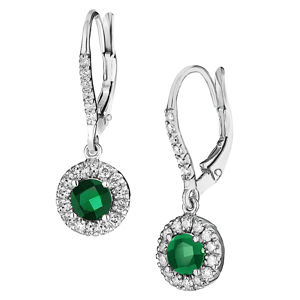 View 0.52ctw Diamond and Emerald Earrings in 14k Gold