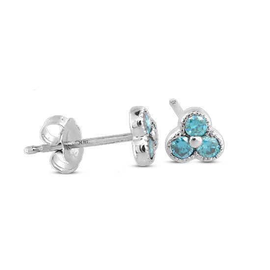 View 0.25cttw Blue Diamond Earrings set in 14k Gold