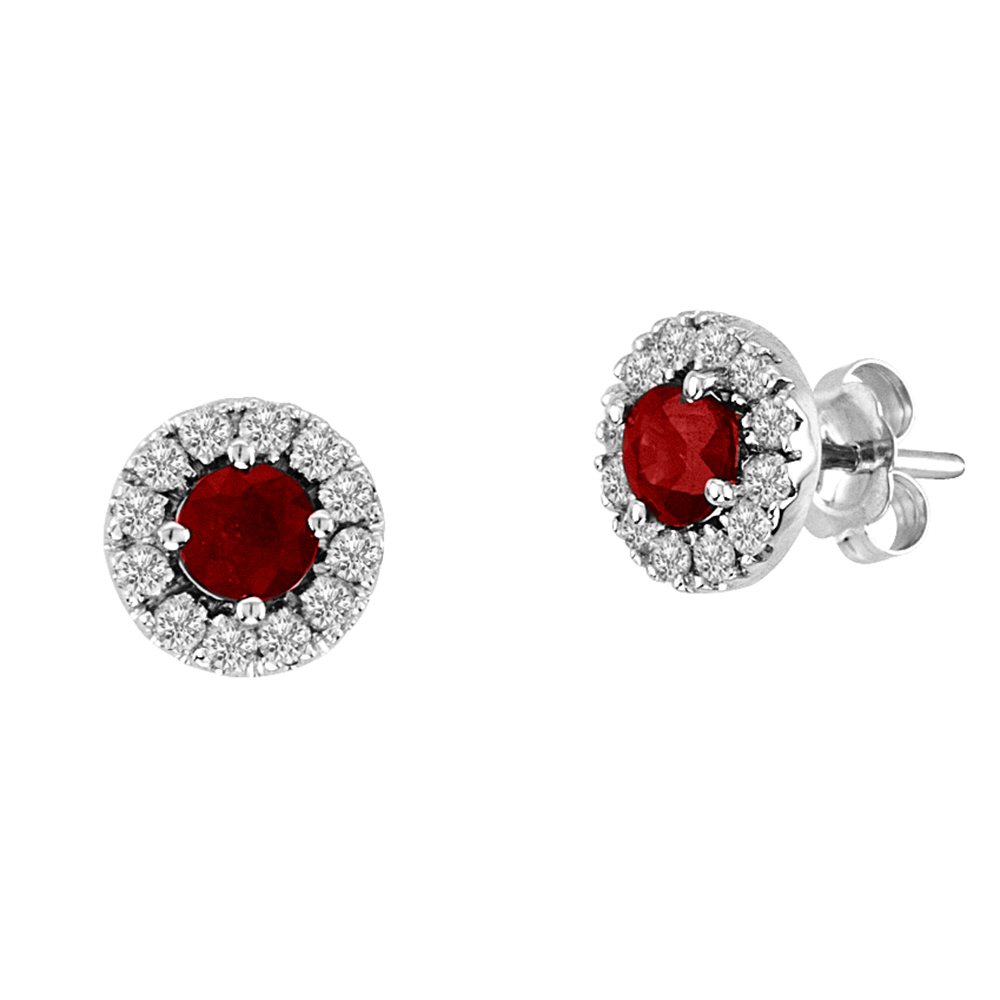 1.05cttw Natural Heated Ruby and Diamond Halo Earring set in 14k Gold