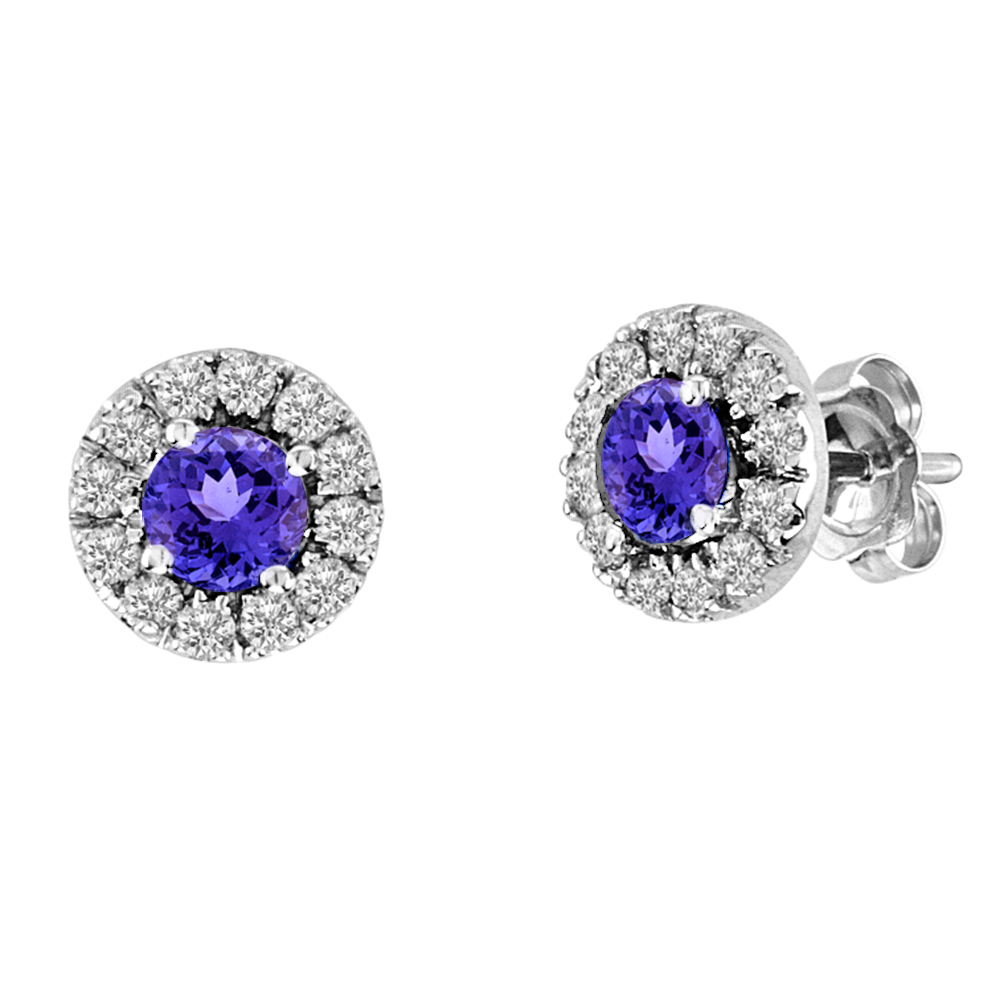 View 0.83cttw Diamond and Tanzanite Earring set in 14k
