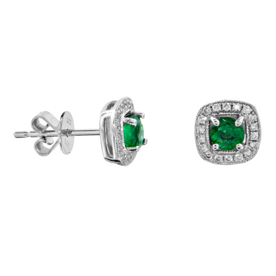 0.75cttw Emerald and Diamond Earrings in 14k Gold