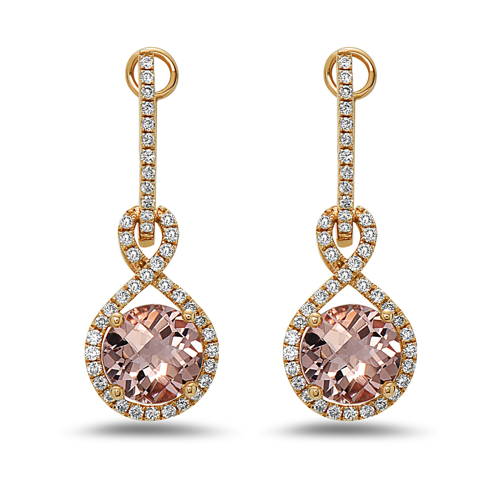 View 2.66cttw Morganite and Diamond Earrings in 14k Rose Gold