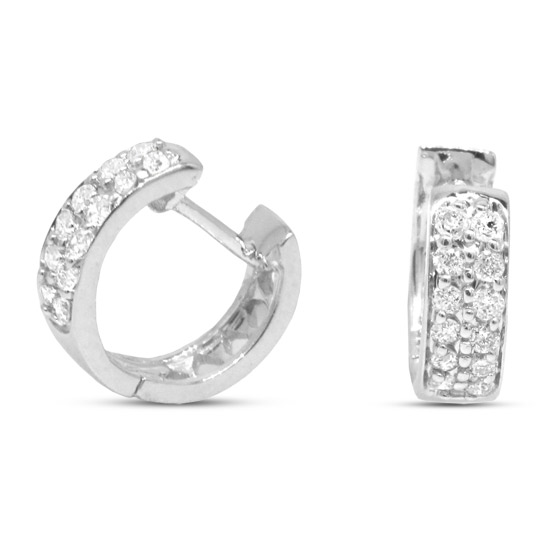 View 0.25cttw Diamond Huggy Earrings in 14k White Gold