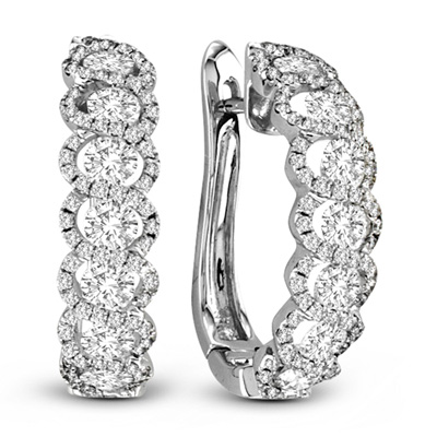 View 1.88cttw Diamond Fashion Hoop Earrings in 18k White Gold